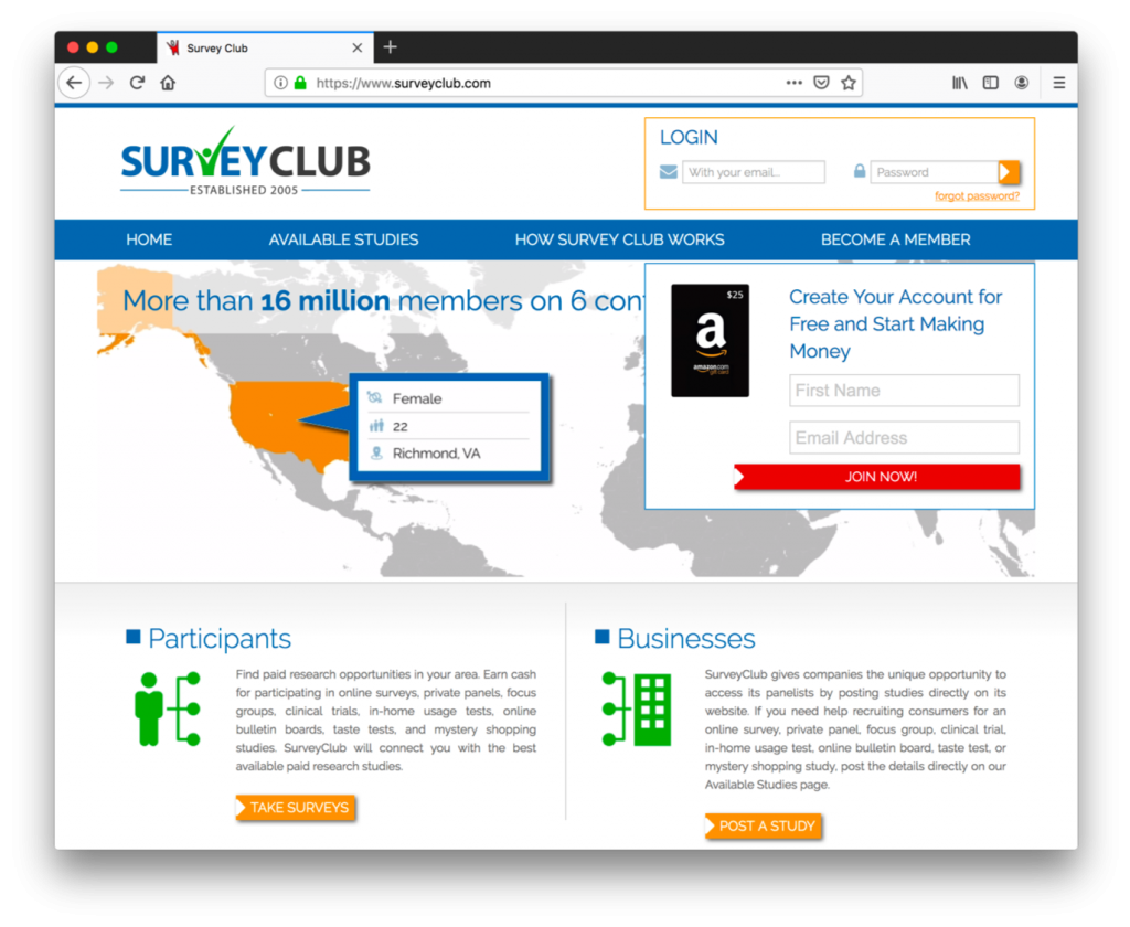 SurveyClub is a survey focused site to make extra money online