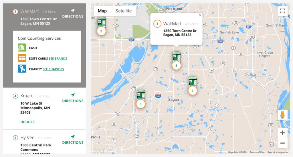 Example of coinstar coin counting services on a map
