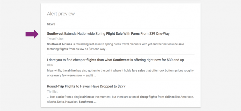 Google Alerts Southwest Airlines
