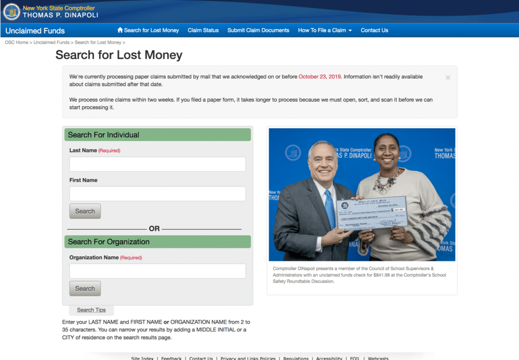 State comptroller landing page NY