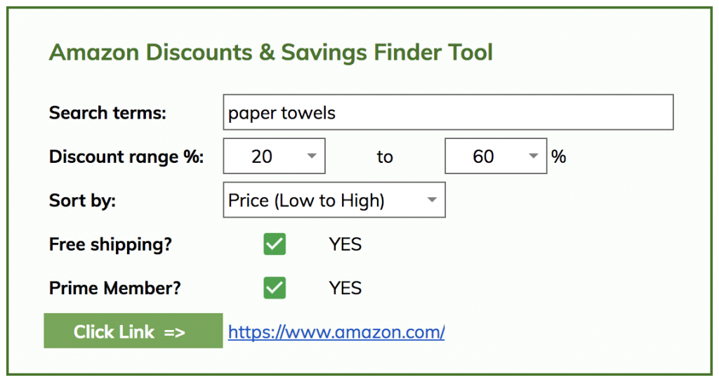 Amazon discount finder tool