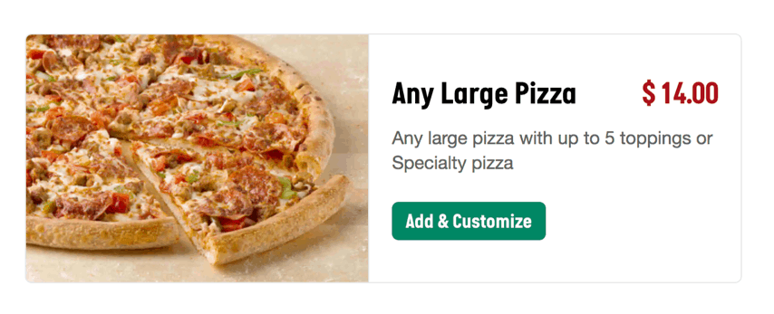 Papa Johns Any Large Pizza Promotion