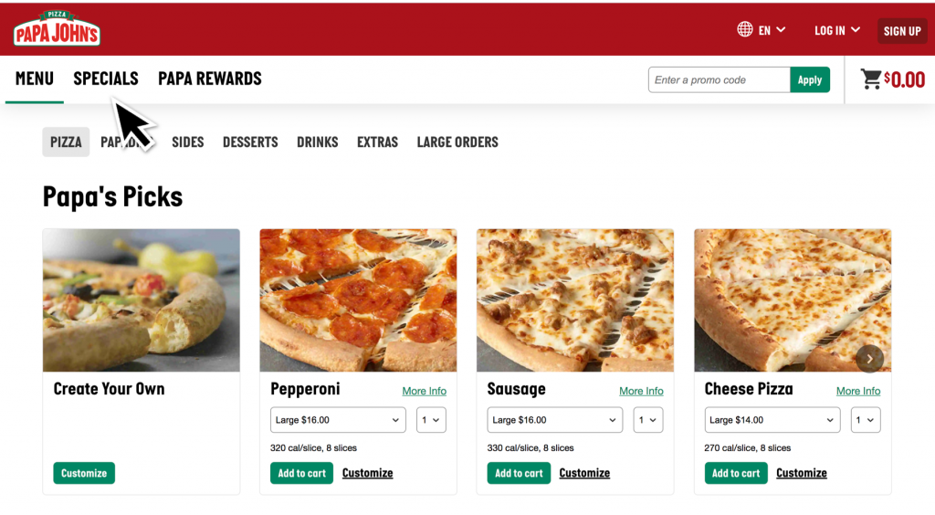Papa Johns Specials Page