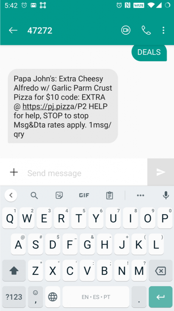 Papa Johns text message
